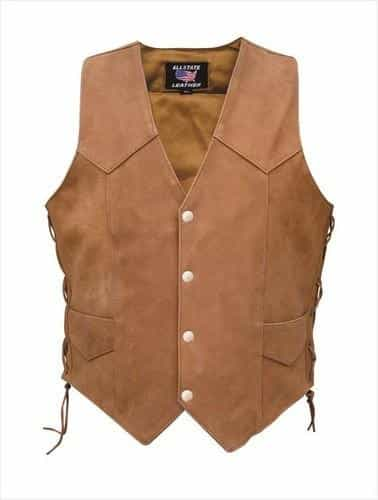 bedinhome - AL2317 Ladies Brown Side Laced Buffalo Leather 2 front pockets 2 inside pockets Vest - All State Leather - Ladies Leather Vest