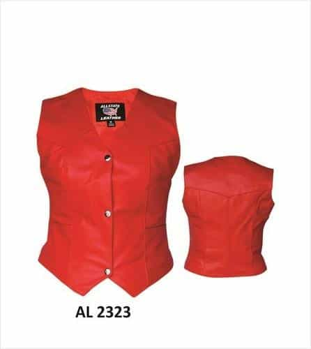 bedinhome - AL2323 Ladies Motorcycle Fashion Red Cowhide Soft Leather Vest With Silver Hardware - All State Leather - Ladies Leather Vest