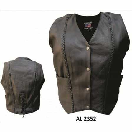 bedinhome - AL2352 Ladies Motorcycle Fashion Braided Drum Dyed Naked Cowhide Soft Leather Vest - All State Leather - Ladies Leather Vest