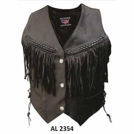 bedinhome - AL2354 Ladies Motorcycle Braided Fringe Naked Buffalo Leather Vest With Black Hardware - All State Leather - Ladies Leather Vest