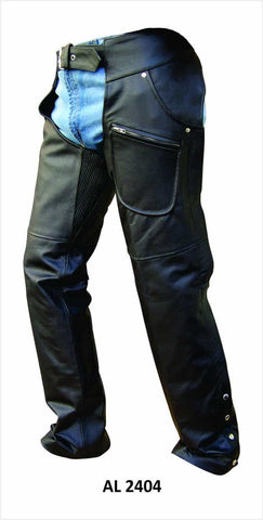 bedinhome - AL2404 Men's Bike V Shaped Spandex Premium Analine Cowhide Leather Chaps with Zippered Closure - All State Leather - Men's Leather Chaps