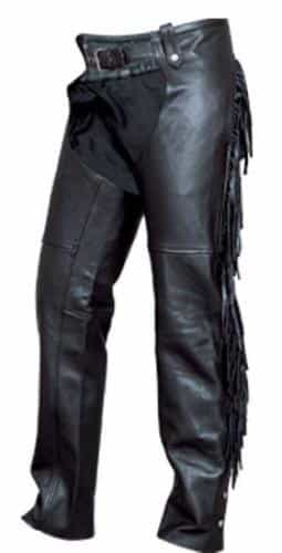 bedinhome - AL2407 Ladies Motorcycle Premium Buffalo Leather Fringed Back Chaps With Silver Hardware - All State Leather - Ladies Leather Chaps
