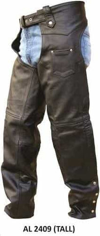 bedinhome - AL2409 Men's Boy Motorcycle Biker Tall Plain Lined Chaps With Silver Hardware - All State Leather - Men's Leather Chaps