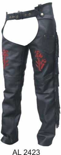 bedinhome - AL2423 Ladies Girl Motorcycle Red Rose Braided Fringe Lined Cowhide Soft Leather Chaps - All State Leather - Ladies Leather Chaps