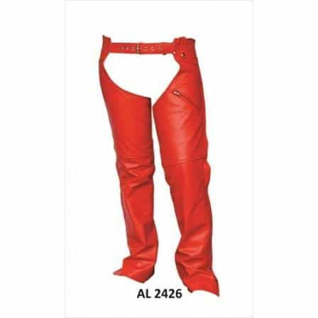 bedinhome - AL2426 Ladies Girl Motorcycle Red Lined Plain Cowhide Soft Leather 1 Zipprered Pocket Chaps - All State Leather - Ladies Leather Chaps