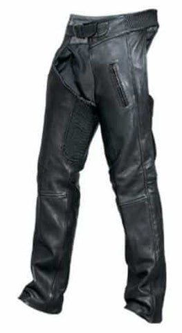 bedinhome - AL2451 Men's Boy Elastic Waist Chaps Drum Dyed Naked Cowhide Leather With Black Hardware - All State Leather - Men's Leather Chaps