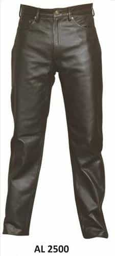 bedinhome - AL2500 Men's Boy Motorcycle Plain Black five Pockets Pants in Analine Cowhide Leather - All State Leather - Men's Leather Pants