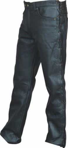 bedinhome - AL2502 Men's Boy Motorcycle five pocket pants with side laces in Soft Buffalo Leather - All State Leather - Men's Leather Pants