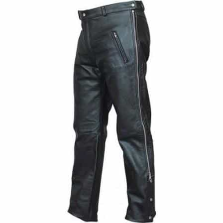 bedinhome - AL2510 Men's Boy Motorcycle chap pants in Soft buffalo leather With Silver Hardware - All State Leather - Men's Leather Pants