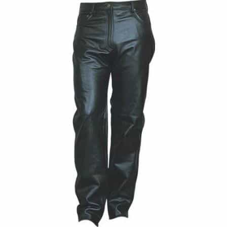 bedinhome - AL2550 Ladies Girl Motorcycle Plain black five pockets pants in Soft Analine Cowhide - All State Leather - Ladies Leather Pants