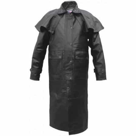 bedinhome - AL2603 Men's Boy Black duster Removable Cape Split Cowhide Leather With Black Hardware - All State Leather - Men's Leather Duster