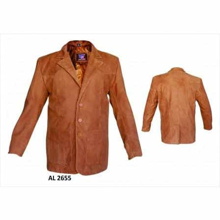 bedinhome - AL2655 Men's Boy Fashion three button 2 Front Pockets Brown blazer in Buffalo Leather - All State Leather - Men's Leather Blazer