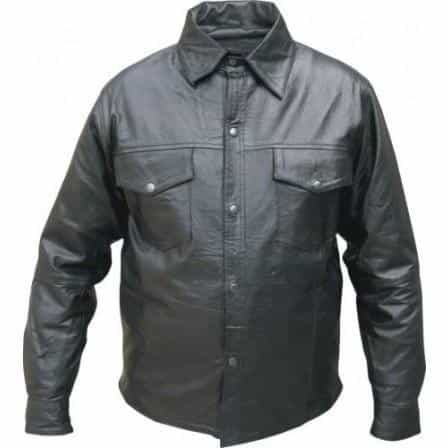 bedinhome - AL2670 Men's Western style snaps light Weight soft premium Buffalo Leather Long Sleeve shirt - All State Leather - Men's Leather Shirt