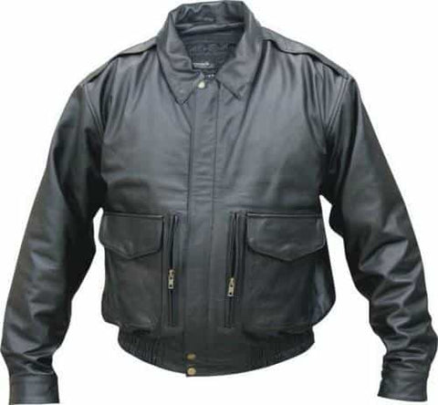 bedinhome - AL2702 Men's Boy Motorcycle Cowhide black bomber jacket with Removable zip-out lining - All State Leather - Men's Leather Jacket