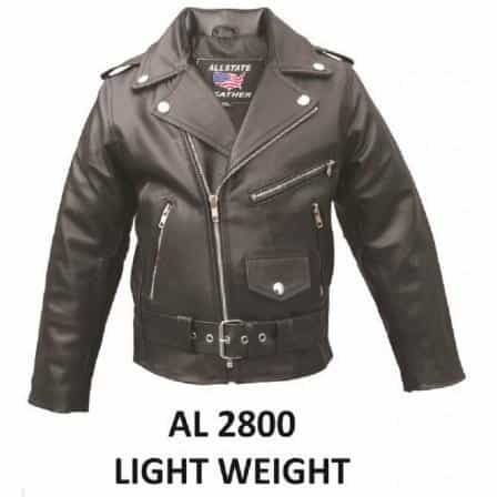 bedinhome - AL2800 Kid's Fashion basic motorcycle jacket in soft Lambskin Leather With Belt Buckle - All State Leather - Kid's Leather Jacket