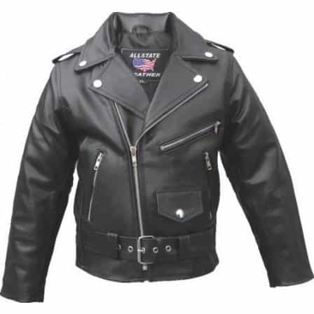bedinhome - AL2801 Kid's basic motorcycle jacket in Split Cowhide Leather With 3 Front Zipered Pocket - All State Leather - Kid's Leather Jacket