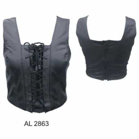 bedinhome - AL2863 Ladies Girl Fashion Motorcycle Top with laces front Soft Lambskin Leather - All State Leather - Ladies Leather Halter Top