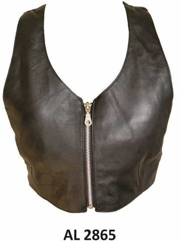 bedinhome - AL2865 Ladies Girl Fashion Motorcycle Top with Zippered front Soft Lambskin Leather - All State Leather - Ladies Leather Halter Top