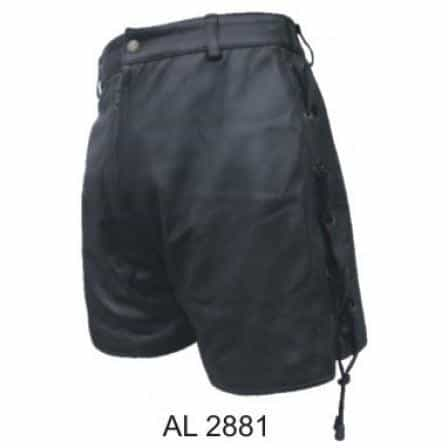 bedinhome - AL2881 Ladies Girl Fashion Motorcycle Black Lambskin Leather Shorts With Laced Sides & Front - All State Leather - Ladies Leather Shorts