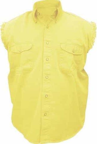 bedinhome - AL2907 Men's Boy Fashion Motorcycle 100% Cotton Yellow Sleeveless Shirt With Snap Down Collar - All State Leather - Men's Cotton Shirt