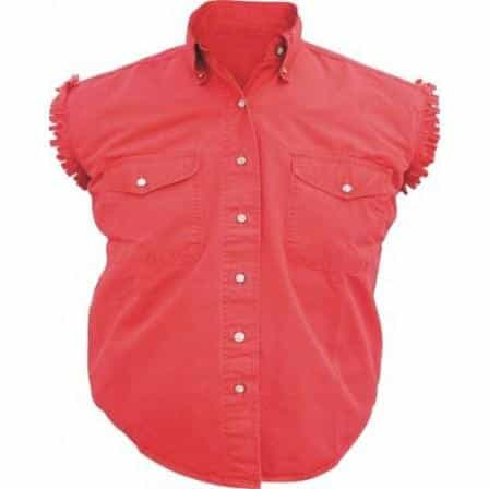 bedinhome - AL2926 Ladies Girl Fashion Motorcycle 100% Cotton Red Sleeveless Shirt With Snap Down Collar - All State Leather - Ladies Cotton Shirt