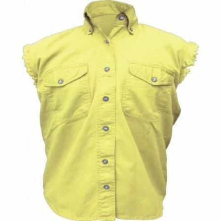 bedinhome - AL2928 Ladies Girl Fashion Motorcycle 100% Cotton Yellow Sleeveless Shirt With Snap Down Collar - All State Leather - Ladies Cotton Shirt