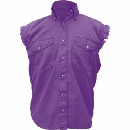 bedinhome - AL2929 Ladies Girl Fashion Motorcycle 100% Cotton Purple Sleeveless Shirt With Snap Down Collar - All State Leather - Ladies Cotton Shirt