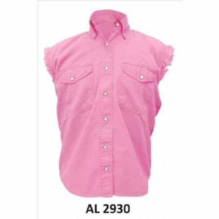 bedinhome - AL2930 Ladies Girl Fashion Motorcycle 100% Cotton Pink Sleeveless Shirt With Snap Down Collar - All State Leather - Ladies Cotton Shirt