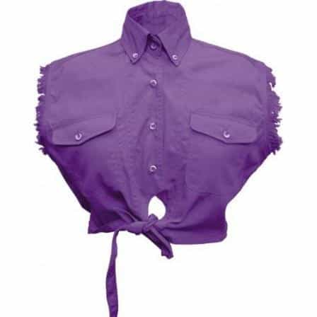 bedinhome - AL2944 Ladies Girl Fashion Motorcycle 100% Cotton Purple Tie-Up Sleeveless Shirt With Snap Down Collar - All State Leather - Ladies Cotton Shirt