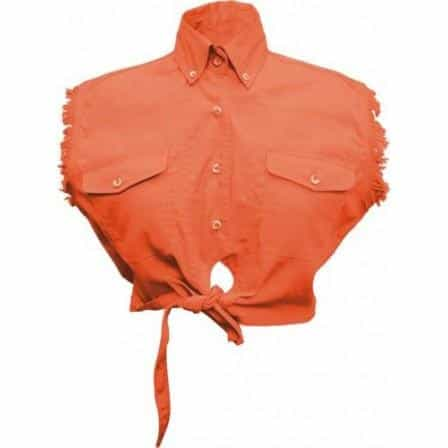 bedinhome - AL2945 Ladies Girl Fashion Motorcycle 100% Cotton Orange Tie-Up Sleeveless Shirt With Snap Down Collar - All State Leather - Ladies Cotton Shirt