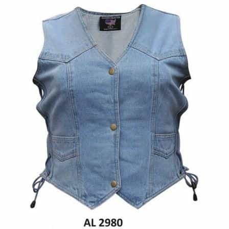 bedinhome - AL2980 Ladies Girls Fashion Bike Riding Style Blue Denim Vest 2 Front Pockets With Side Laces - All State Leather - Ladies Denim Vest
