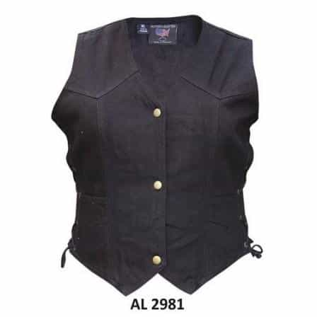 bedinhome - AL2981 Ladies Girls Fashion Bike Riding Style Black Denim Vest 2 Front Pockets With Side Laces - All State Leather - Ladies Denim Vest