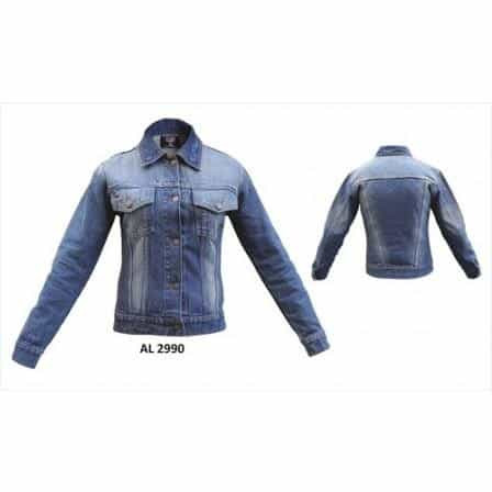 bedinhome - AL2990 Ladies Girls Fashion Motorcycle Blue Denim Jacket 2 Buttoned Chest Pockets With Snap Down Collar - All State Leather - Ladies Denim Jacket