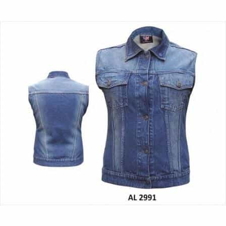 bedinhome - AL2991 Ladies Girls Fashion Motorcycle Blue Denim Style Sleeveless Vest 2 Buttoned Chest Pockets With Snap Down Collar - All State Leather - Ladies Denim Vest