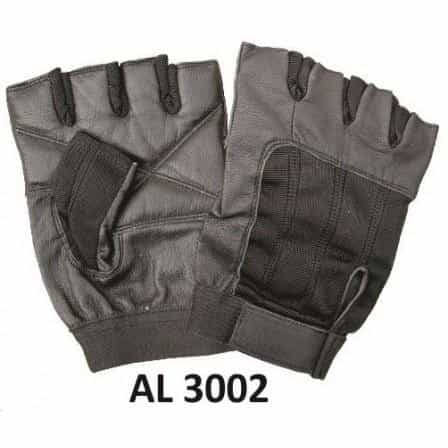 bedinhome - AL3002 Men's Boys Fashion Motorcycle Leather Fingerless Gloves With Black Spandex - All State Leather - Men's Leather Gloves