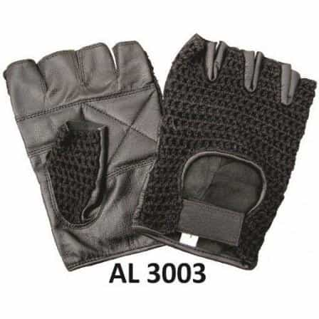 bedinhome - AL3003 Men's Boys Fashion Motorcycle Leather Fingerless Gloves Mesh on Thumb & Front With Padded Palm - All State Leather - Men's Leather Gloves