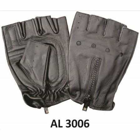 bedinhome - AL3006 Men's Boys Fashion Motorcycle Leather Fingerless Gloves With Zipper Back - All State Leather - Men's Leather Gloves