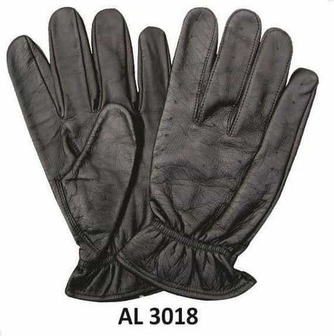 bedinhome - AL3018 Men's Boys Fashion Motorcycle Black Leather Full Fingered Vented Unlined Driving Gloves With an Elastic Wrist - All State Leather - Men's Leather Gloves