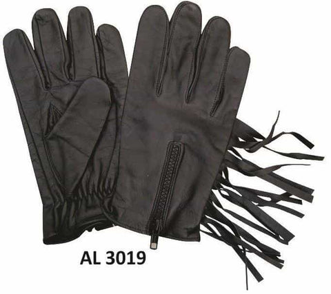 bedinhome - AL3019 Men's Boys Fashion Motorcycle Black Leather Full Fingered Unlined Gloves With Fringe & Zippered Back - All State Leather - Men's Leather Gloves