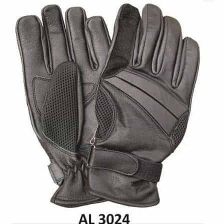 bedinhome - AL3024 Men's Boys Fashion Motorcycle Black Full Finger Vented Gloves With Gel Palm - All State Leather - Men's Leather Gloves