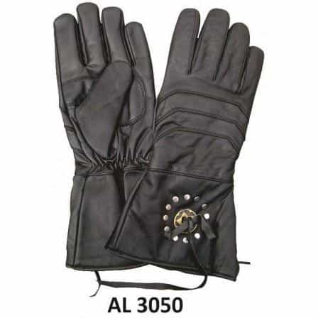 bedinhome - AL3050 Men's Boys Fashion Motorcycle Gauntlet Gloves With Antique Brass Concho Lightly Lined - All State Leather - Men's Leather Gloves