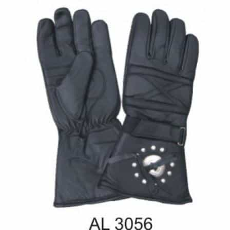 bedinhome - AL3056 Men's Boys Fashion Motorcycle Padded Bike Riding Gloves With Silver Concho & Studs - All State Leather - Men's Leather Gloves