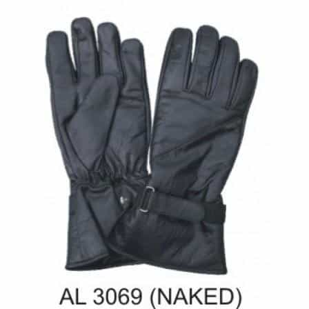 bedinhome - AL3069 Men's Boys Fashion Motorcycle Lightly Lined Naked Soft Leather Riding Gloves With Strap - All State Leather - Men's Leather Gloves