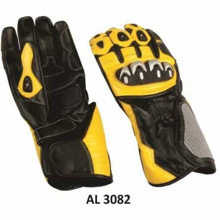 bedinhome - AL3082 Men's Boys Fashion Motorcycle Black & Yellow Cowhide Leather Sports Bike Riding Gloves - All State Leather - Men's Leather Gloves
