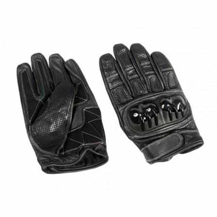 bedinhome - AL3084 Men's Boys Fashion Motorcycle Black Cowhide Leather Sports Bike Riding Gloves With Adjustable Tabs On Wrist - All State Leather - Men's Leather Gloves