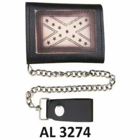 bedinhome - AL3274 Men's Boys Fashion Motorcycle Biker Heavy Duty Tri-fold Chain Wallet With Rebel Flag Logo - All State Leather - Men's Chain Wallet
