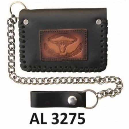 bedinhome - AL3275 Men's Boys Fashion Motorcycle Biker Heavy Duty Bi-fold Chain Wallet With Buffalo Head Logo - All State Leather - Men's Chain Wallet