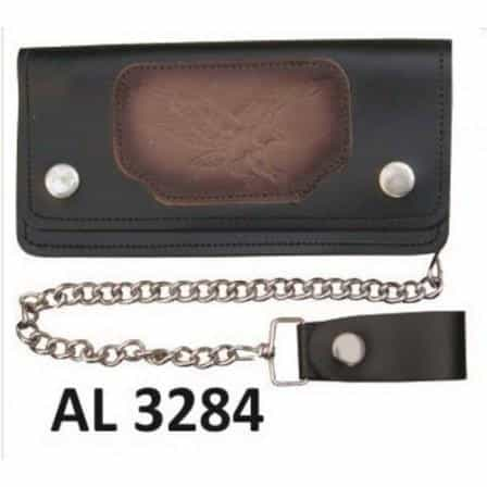 bedinhome - AL3284 Men's Boys Fashion Motorcycle Biker Heavy Duty 6 Inch Chain Wallet With 6 Pockets & Flying Eagles Logo - All State Leather - Men's Chain Wallet
