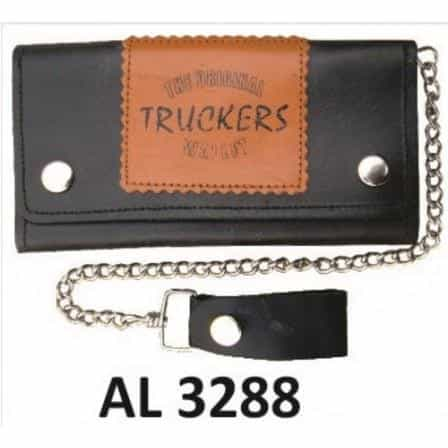 bedinhome - AL3288 Men's Boys Fashion Motorcycle Biker Heavy Duty 6 Inch Chain Wallet With 6 Pockets & Truckers Logo - All State Leather - Men's Chain Wallet