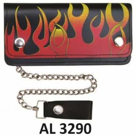 bedinhome - AL3290 Men's Boys Fashion Motorcycle Biker Heavy Duty 8 Inch Chain Wallet With 5 Pockets Red and Yellow Flames - All State Leather - Men's Chain Wallet